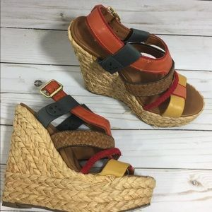 TOPSHOP MULTI COLOR WEDGE STRAW  SANDALS 7/37